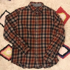 Eddie Bauer Men's Maroon Plaid Flannel Button Down